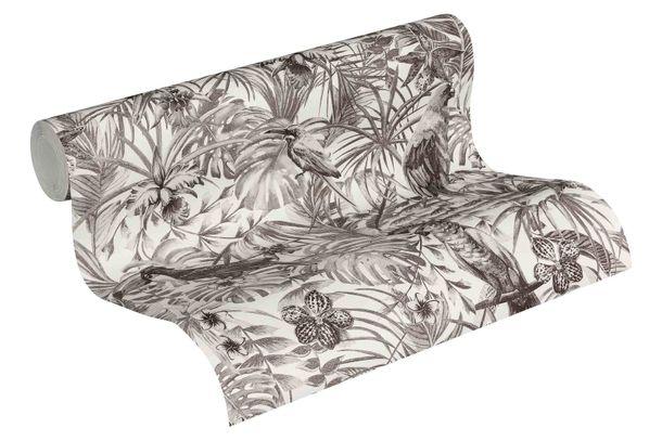 Tapete Vlies Vögel Dschungel weiß grau 37210-5 online kaufen