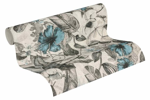 Wallpaper Non-Woven Jungle Flowers grey white 37216-2 online kaufen