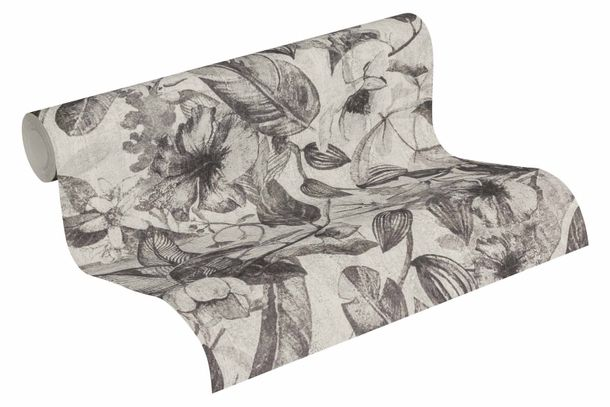 Wallpaper Non-Woven Jungle Flowers grey anthracite 37216-3