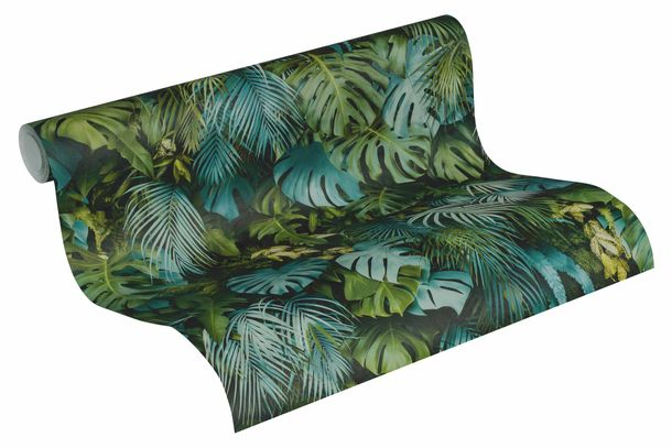 Wallpaper Non-Woven Jungle Floral green blue 37280-3 online kaufen
