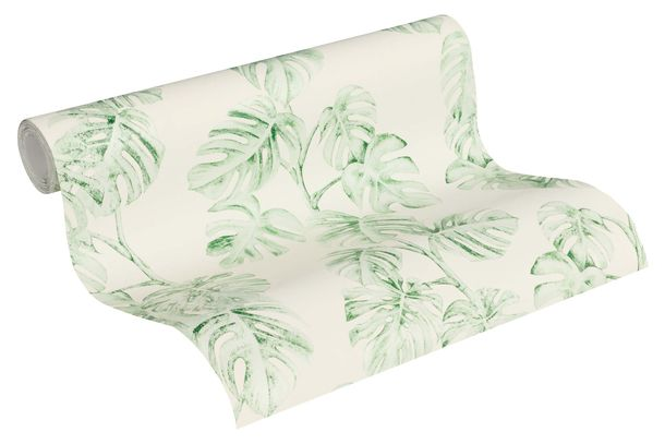 Wallpaper Non-Woven Floral Leaves white green 37281-3 online kaufen