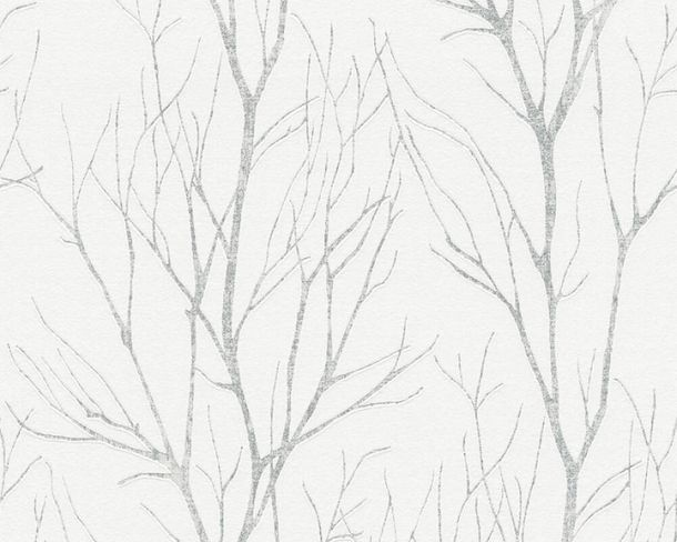 Non-Woven Wallpaper Branches grey silver metallic 37260-2