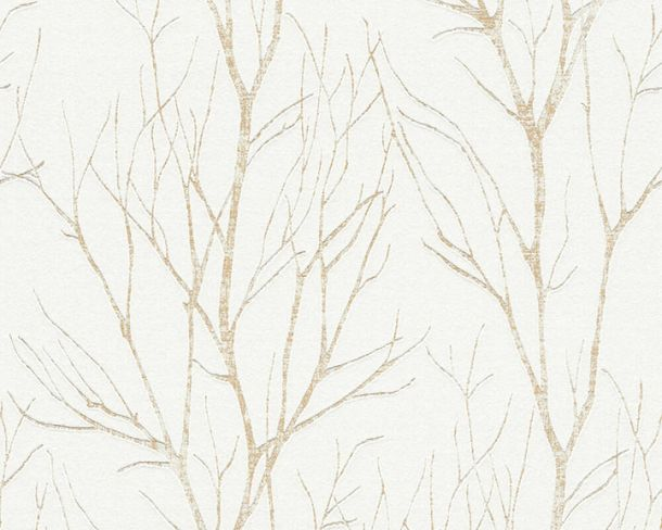 Non-Woven Wallpaper Branches cream white gold metallic 37260-3