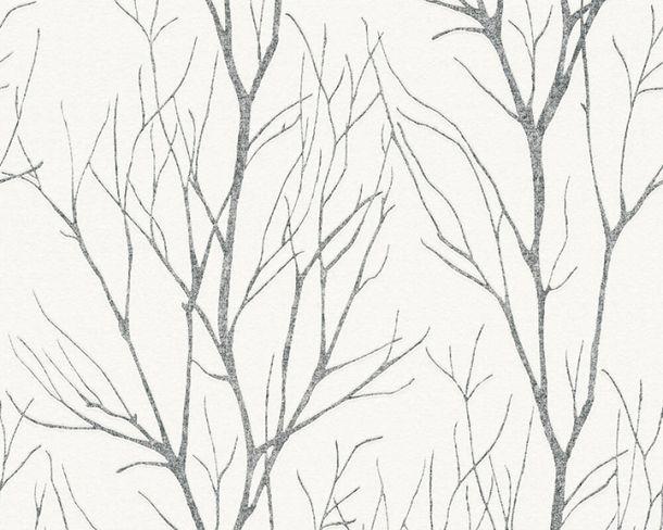 Tapete Vlies Floral Äste weißgrau metallic 37260-4