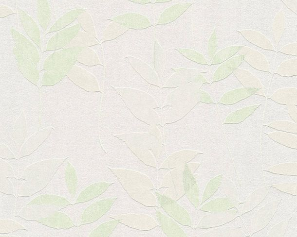 Non-Woven Wallpaper Leaves Floral light grey green 37261-2 online kaufen