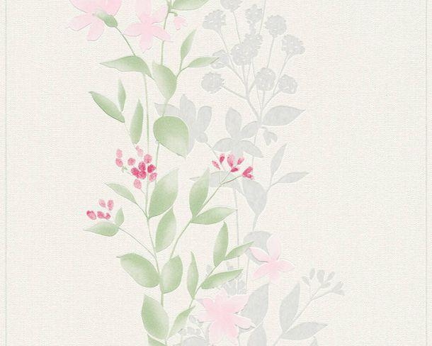 Tapete Vlies Blumen Ranken Floral weiß grün 37266-1