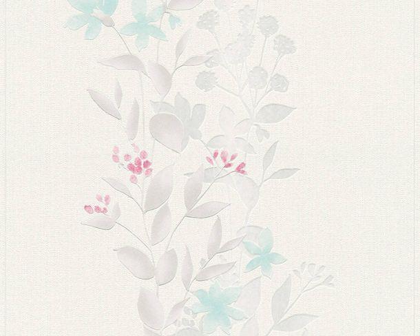 3,14€//1qm Tapete Vlies Floral Blätter Zweige hellblau Glitzer 37265-4