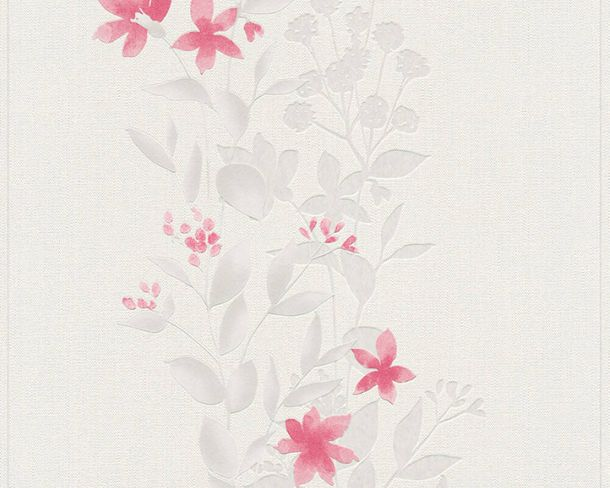 Non-Woven Wallpaper Flowers Tendrils Floral light grey red 37266-4