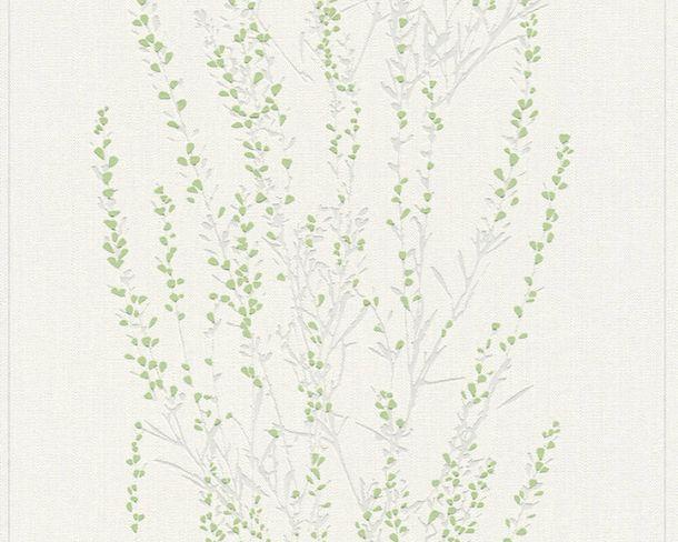 Non-Woven Wallpaper Branches white green Gloss 37267-2 online kaufen