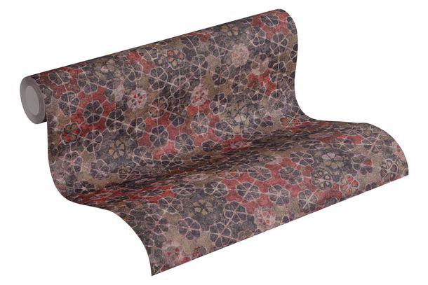 Tapete Vlies Kacheln Vintage lilagrau rot braun 37391-3 online kaufen