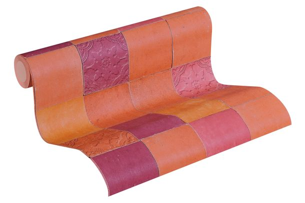 Tapete Vlies Fliesenplatten orange rosa 37406-5 online kaufen