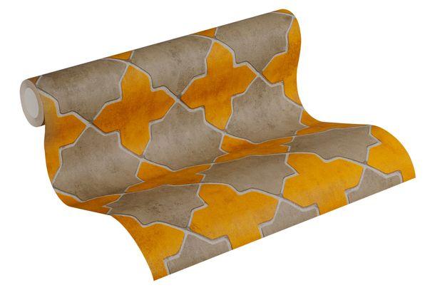 Tapete Vlies New Walls Fliesen gelb taupe 37421-2 online kaufen