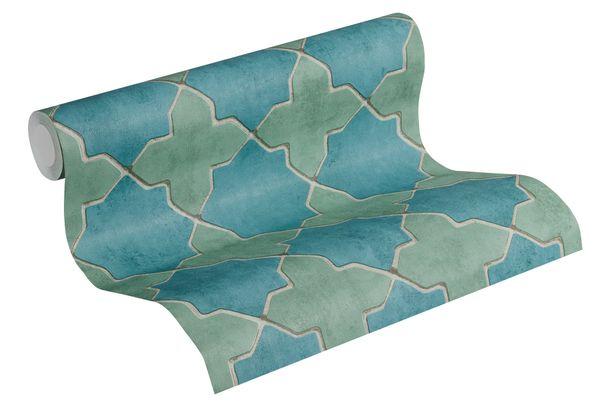 Tapete Vlies New Walls Fliesen blau blaßgrün 37421-4 online kaufen