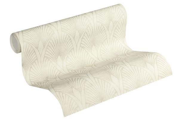 Tapete Vlies Retro grauweiß silber Metallic 37427-1 online kaufen