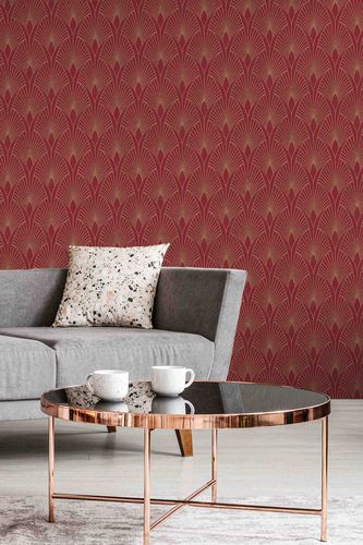 Tapete Vlies New Walls Retro rot gold Metallic 37427-4