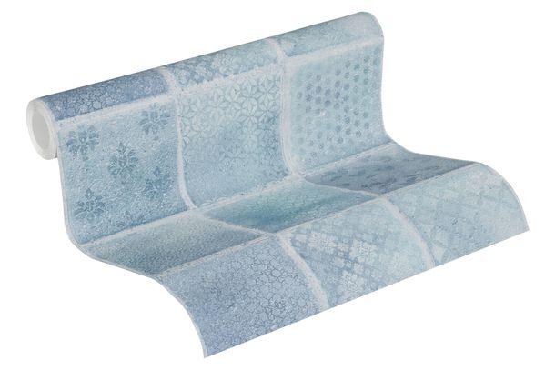 Non-woven Wallpaper 37388-2 tile optic blue white  online kaufen