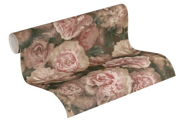 Non-woven Wallpaper 37402-2 blossoms brown rose green  online kaufen