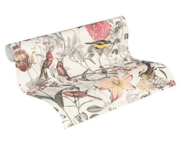 Tapete Vlies 37276-1 Natur Vögel Blumen weiß gelb grau  online kaufen