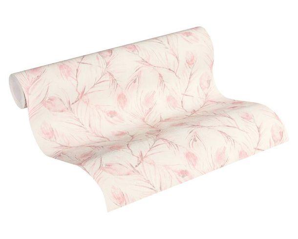 Tapete Vlies 37367-2 Federn weiß rosa grau glitzer online kaufen