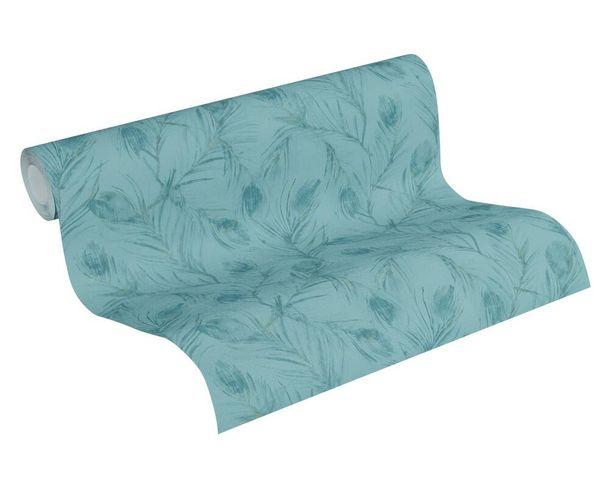 Tapete Vlies 37367-3 Federn blau metallic glitzer online kaufen
