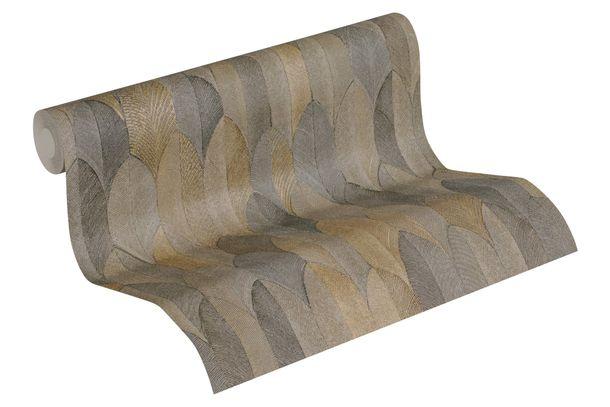 Tapete Vlies Feder-Motiv beige grau gold 37373-5 online kaufen