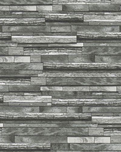 Tapete Vlies Holz-Wand dunkelgrau weiß Marburg 31732