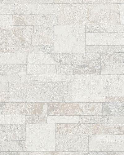 Tapete Vlies Stein-Mauer Granulat weiß Marburg 31762