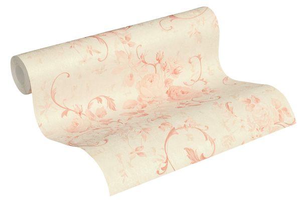 Tapete Vlies große Blüten beige rosa Glitzer 37224-1 online kaufen