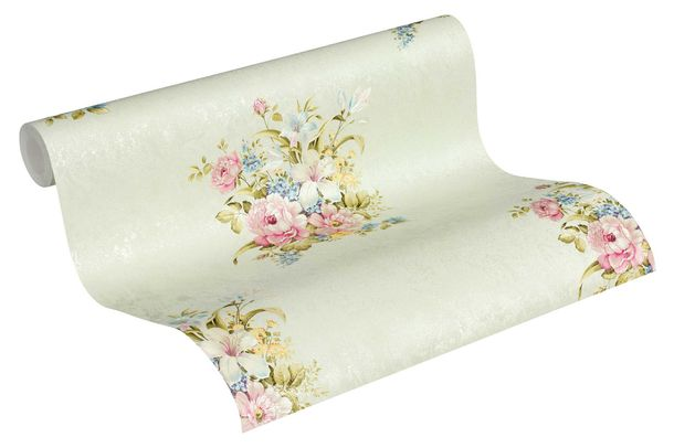 Tapete Vlies Blumenstrauß grüngrau grün pink 37225-5 online kaufen