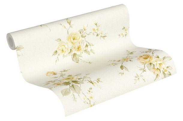 Tapete Vlies Rosenblumen creme grün orange 3723-21 online kaufen