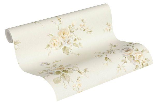 Tapete Vlies Rosenblumen creme grün violett 3723-45 online kaufen