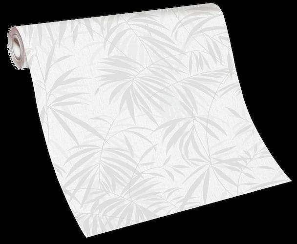 Tapete Vlies 10067-31 - Pflanzen weiß grau beige