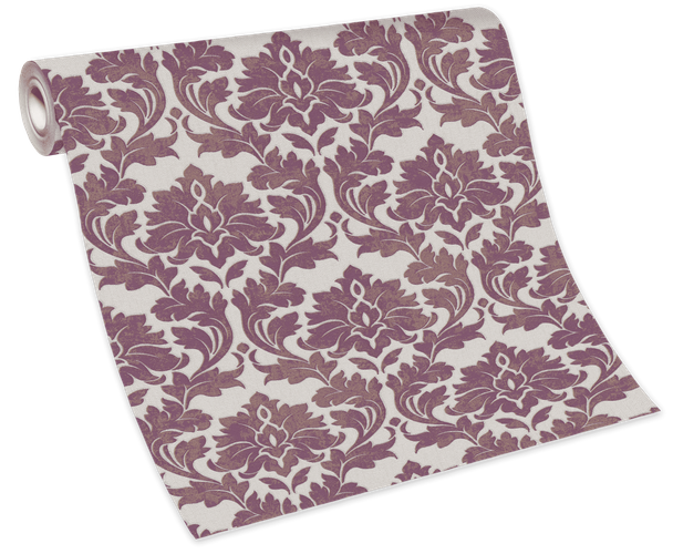 Tapete Vlies 10070-09 - Barock-Muster weiß lila gold