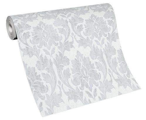 Tapete Vlies Barock-Muster weiß grau 10070-31