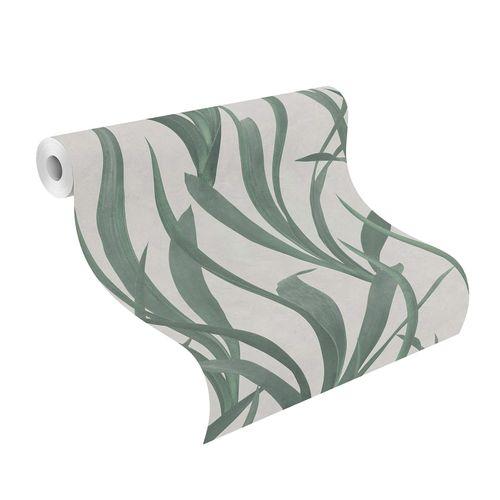 Tapete Vlies Rasch Schlanke Blätter hellgrau grün 427028