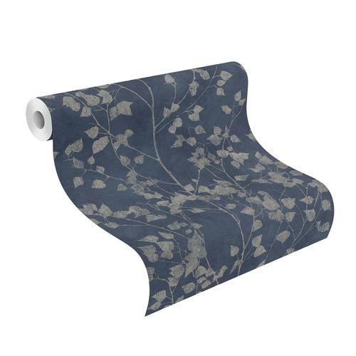 Tapete Vlies Blätterranken blau silber Finca 416657 online kaufen
