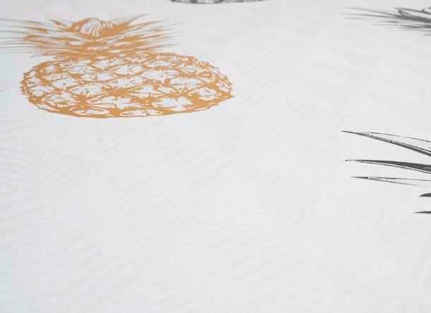 Tapete Selbstklebend weiß gold Ananas Muster 368271