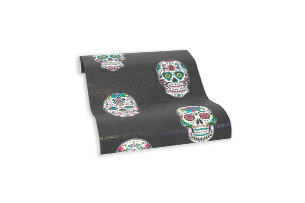 Wallpaper self-adhesive black colourful skulls 368281 online kaufen