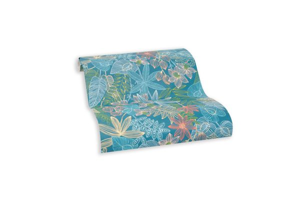 Wallpaper self-adhesive blue floral leaf 368291 online kaufen