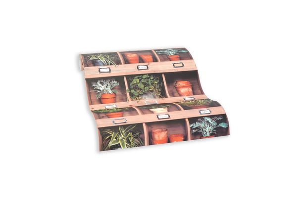 Wallpaper self-adhesive brown green shelf plants 368341 online kaufen