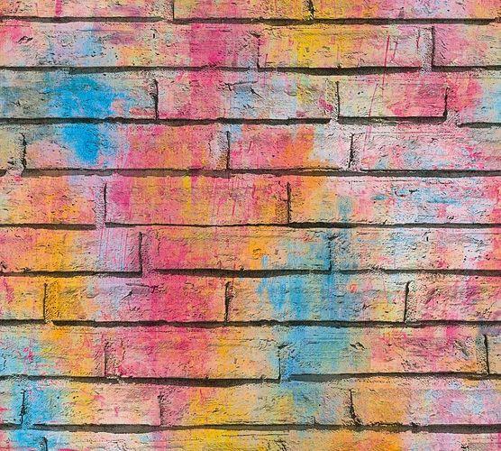 Tapete Selbstklebend bunt Graffiti Steinwand 368371