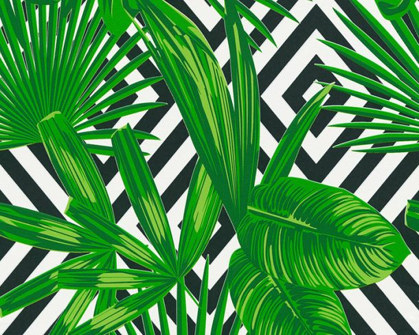 Wallpaper self-adhesive green white graphic leaf 368542 buy online