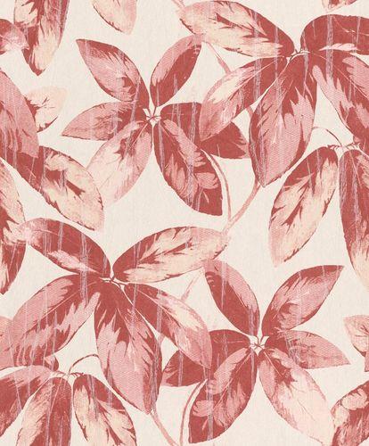 Tapete Vlies Vintage Blätter creme rot Glanz 298634