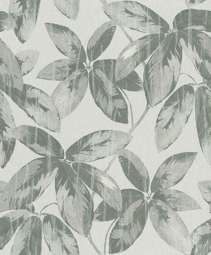 Tapete Vlies Vintage Blätter graugrün Glanz 298665