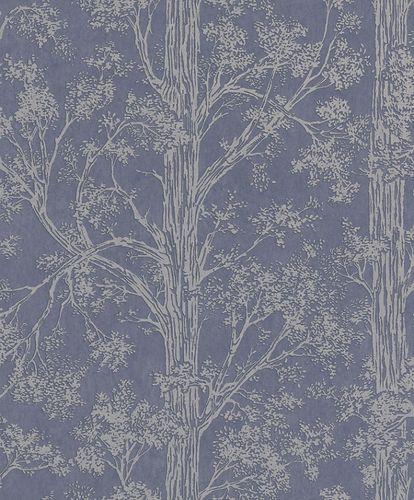 Tapete Vlies Wald Bäume blau grau Metallic 298818