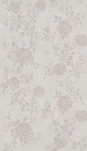 Tapete Vlies Vintage Blumen graubeige Metallic 298917