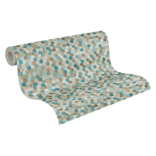 Tapete Vlies Struktur Mosaik blau braun beige 37463-2