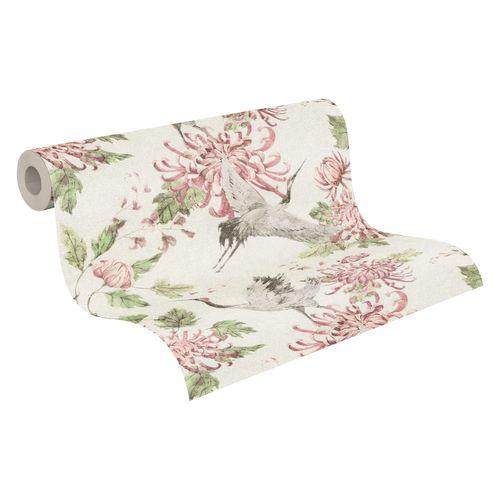 Tapete Vlies Kranich Blumen grau rosa grün 37464-2