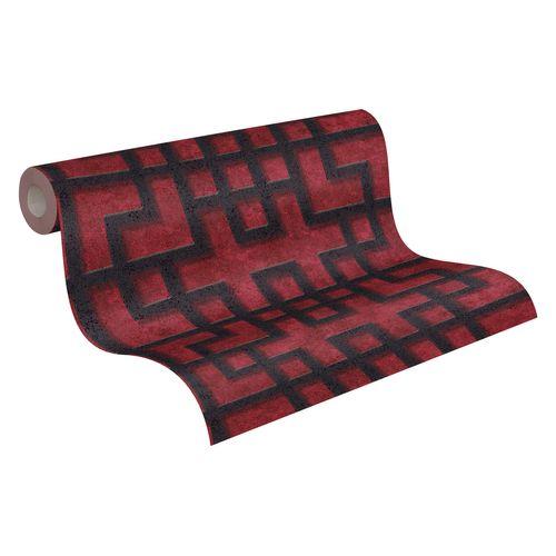 Tapete Vlies Gittermuster rot schwarz Glanz 37465-2