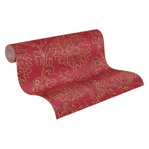 Tapete Vlies Ornament Blumen rot gold Metallic 37470-1
